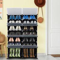 7-TIER Portátil 28 par de zapatos Rack Organizador 14 Grids Tower Shelf Gabinete de almacenamiento Soporte expandible para tacones Botas Zapatillas Negro