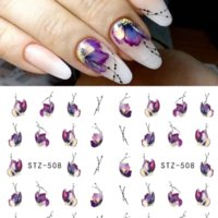 1 Sheet Water Nail Art Stickers Flower Flamingo Feather Design Transfer Decals Tattoo Sticker for Women Girls Manicure DIY Accessories Decorations 4.5x5.2cm Decal
