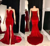 2021 Red Velvet Prom Graduation Dresses High School Sexy Size Split Sweetheart Mermaid Formal Evening Gowns Special Occasion Girls