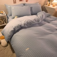 Autumn and Winter Four Washed Cotton Three Piece Bed Sheet Quilt Cover Pillow Case Set Bedding
