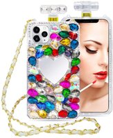 Luxo Diamond Bling Perfume Frasco Telefone Casos Makeup Espelhos Flores TPU Capa Para iPhone 13 Pro Max Coração Amor Amor 12 Mini 11xs XR X 6 6S 7 8 PLUS SE2 Capa