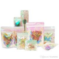 Bolsa de folha resealable bolsa cheiro à prova de plana ziplock sacos embalagens para festa favor o armazenamento alimentar laser cor holográfica