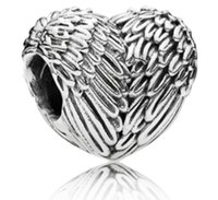 Fits Pandora Bracelets 50pcs Angel's Wings Heart Charms Beads Silver Charms Bead For Women Diy European Necklace Jewelry