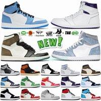 Scarpe da basket da uomo Jumpman 1 1s Scarpe da uomo University Blue Hyper Roya Dark Mocha UNC Twist Obsidian Chicago Black Toe Sneakers Scarpe da ginnastica Taglia 13