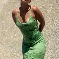 طباعة حك bodycon اللباس المرأة الخضراء Y2K الصيف الجوف خارج مثير أكمام السباغيتي حزام شاطئ ميدي فساتين حزب عارضة
