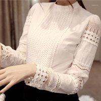 Мода Женщины Блузки Плюс Размер Дрезвой Длинные Рубашки Белая Рубашка Кружева Крюк Цветок Полая Шифон Слим Блузка Топ Женский1