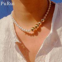 Steampunk Runde Nachahmung Perlen Halskette 2021 CCB Ball Perlen Choker Für Frauen Männer Rapper Colliers KPOP Schmuck Chokers