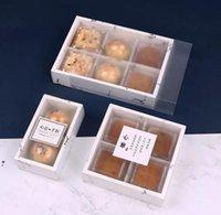 Boîte de papier de conception de marbre 3 Taille avec couvercle de pvc givré Fromage Chocolate Paper Paper Boîtes Boîtes Coffre Coffret Coffret NHA4630