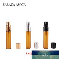 5ml de vaporisateur de verre brun vaporisateur de pulvérisation portable maquillage d'humidité d'humidité brun légère petite bouteille de pulvérisation 100 / pcs
