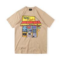 2021 INS США Хип-хоп Звезда Кактус Мультфильм Магазин Tee Skateboard T Рубашка Мужские Женщины Короткие Рукав Улица Повседневная футболка