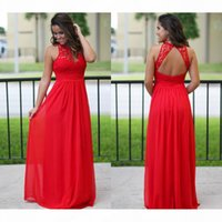 Sexy Red Country A Line Bridesmaid Dresses Illusion Lace Chiffon Sleeveelss Cheap Beach Sexy Backless Floor Length Maxi Dress Prom Gowns