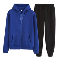 Women's Two Piece Pants Women Tracksuit Hoodie Set 2 Pieces Autumn Winter Hooded Sweatshirt And Solid Color Zipper Outfit Sportswear Female