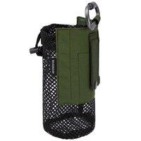 Bassdash Tactical Molle Bottle Bottle Pochette avec mousqueton Porte-maille pliable Sac pour la pêche de voyage Chasse de la pêche Activités en plein air Sacs