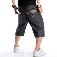 Été plus taille 30-46 largeur jambe hip-hop jeans noir shorts de skateboard mâle skateboard swag bagy hommes capri denim pantalons