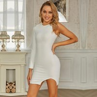 Casual Dresses Swtao Solid Nude Women Sexy Single Sleeve White Mini Bandage Dress 2021 Ladies Elegant Bodycon Evening Club Party Vestido
