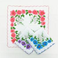 Baskı hankerchief tarak pamuk kesici bayanlar mendil zanaat vintage hanky çiçek düğün mendilleri 30 * 30 cm rastgele KKB7106