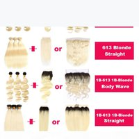 Blonde 1B Blonde Brazilian Virgin Human Hair Extension 613 1B-613 Straight Body Wave Ombre Hair Bundle Deals with Closure Frontal Hair Weave