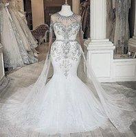 2021 Plus Size Arabic Aso Ebi Luxurious Mermaid Lace Wedding Gowns Beaded Crystals Sheer Neck Detachable Train Bridal Dresses ZJ833
