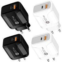 Универсальный 2 в 1 PD Type C Настенное зарядное устройство QC3.0 Адаптер питания ЕС Включение для iPhone 7 8 11 12 Samsung LG