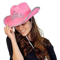 Western Style Tiara Pink Cowboy Hat For Women Girl Crown Cowgirl Cap Holiday Costume Party
