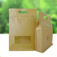 Storage Bags 50Pcs lot Handle Brown Kraft Paper Stand Up Pack Bag With Window Side Gusset For Cereals Beans