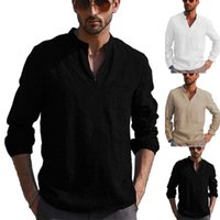 Men's Casual Shirts Daily Men Blouse Shirt V Neck Long Sleeve Spring Autumn Solid Color Plus Size Tops Tees