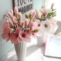 장식 꽃 화환 실크 꽃 2021 인공 가짜 잎 목련 꽃 결혼식 꽃다발 파티 홈 장식 선물