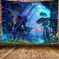 태피스트리 2021 버섯 성 태피스 트리 갤럭시 문 스타 숲 나무 판타지 동화 90 × 70 인치