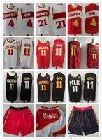 "Mens Atlanta ""Hawks"" Spudback Spud 4 Webb 21 Trae 11 Jeune Basketball Shorts Basketball Jerseys Rouge Noir Blanc"