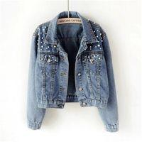 Women's Jackets Jeans Jacket Women 2021 Spring Basic Coats Denim Pearls Beading Coat Loose Long Sleeve