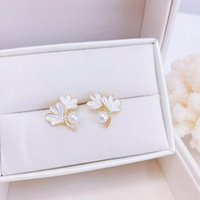 Stud Exquisite Ginkgo Simple Style Earrings Romantic Glamour Dangle Women Temperament Inlaid Top Quality Zircon Accessories
