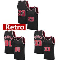 Retro Herren Scottie 33 Pippen Jerseys 23 MJ Jerseys Dennis 91 Rodman North Carolina Basketball Jersey Weiß Rot Schwarz