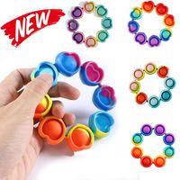 Fidget reliver stress leksaker regnbåge armband push bubbla antistress leksaker vuxna barn sensory leksak för att lindra autism 496