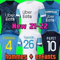 مرسيليا Soccer Jersey Olympique DE 21 22 OM 2021 2022 ميلوت القدم المأكولات Thauvin Benedetto Kamara Payet Shirts Men + Kids Kit 666