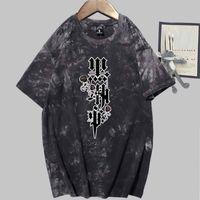 T-shirts Black Butler Print Fashion Short Sleeve Round Neck Tie Dye T-shirt Unisex Höst