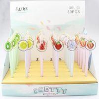 Gel Pens 30 Pcs lot Creative Fruit Pendant Pen Cute 0.5 Mm Black Ink Signature Promotional Gift Stationery School Supplies