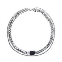 Ожерелье нейтральный двойной слой черные драгоценные камни штабелированные клавише цепь холодного стиля хип-хоп дикие титановые стальные кубинские ювелирные изделия аксессуары