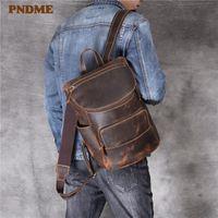 Backpack PNDME High Quality Simple Crazy Horse Leather Men Women Vintage Genuine Designer Luxury Travel Laptop Bookbag