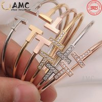 T Armband Hard Bangle Schmuck Mode 925 Sterling Silber Weibliche Runde Klassische Sterne Derselbe Stil Großhandel
