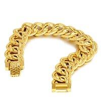 Mäns Dubai stil 24K guldplatta länk, kedja armband njgb110 mode bröllop gåva män gul guldpläterad armband