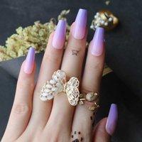 ラベンダーOmbre Coffin False Nails Purple Gradient Pink Medium Gel Fake Nais Daily Wear Q0527