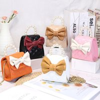 Kids Handbags Fashion Bag Girls Bags Children Accessories Mini Women Purse Children's Shoulder Messenger Handbag Bowknot Princess Chain Pearl