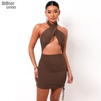 Sisterlinda Women Sexy Hollow Bandage Cross Halter Dress Fashion Slim Sleeveless Clothing Street Lady Trend Mini Dresses 2021New