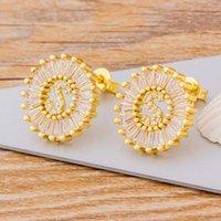 الأزياء مكعب الزركون 26 إيرابية الأولي أقراط هدية شخصية للنساء لطيف الأبجدية روز الذهب والفضة مسمار المجوهرات
