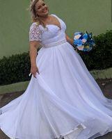 Plus Size Beach Wedding Dresses with Sleeves 2021 Vintage Crochet Lace Chiffon Fairy Skrit Country Big Women Bridal Dress