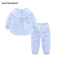 Mudkingdom Boutique Girls Pajama Sets Spring Autumn Cute Lace Striped Heart Toddler Pajamas Kids Sleepwear Sleeping Clothes 210418