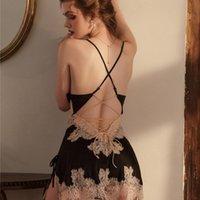 Women's Sleepwear Beauty Back Silk Nightgown Sling Lace Embroidery V-Neck Nightdress Women Sexy Lingerie Nightwear Backless Strap Dress