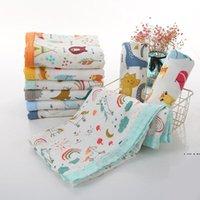 Asciugamano da bagno stampato Infante Swaddgling Ploth Bianco Baby Coperta Quattro strati di involucro in fibra di bambù Cartoon Neonato Passeggino Cover 110 * 120 cm HWC7387