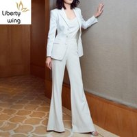 Women's Suits & Blazers Office Ladies Slim Fit White Solid Flare Pants Long Sleeve Single Breasted Blazer Fashion Womens Two Piece Sets 2021