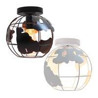 Lámparas de globo para luces de techo Mapa del mundo Lámpara de lámpara de techo de techo Montaje Moderno Metal Alambre Loft Luz de techo Cause Sombra